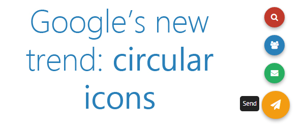 Google new trendy fixed circular icons using CSS3 and jQuery