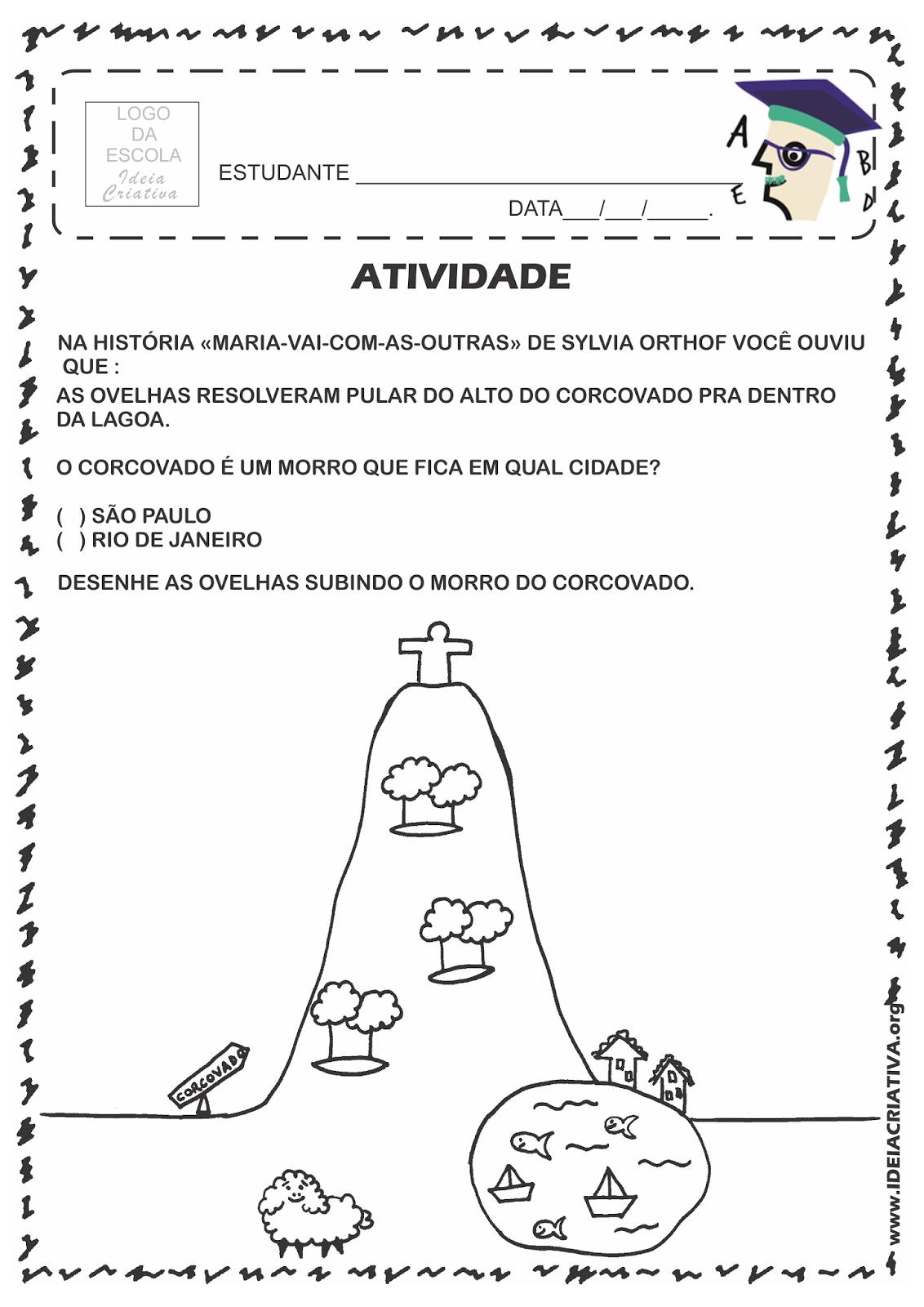 Atividade Rio 450 Anos Trabalho com trecho do livro Maria-vai-com-as-outras e ponto turístico do Rio de Janeiro