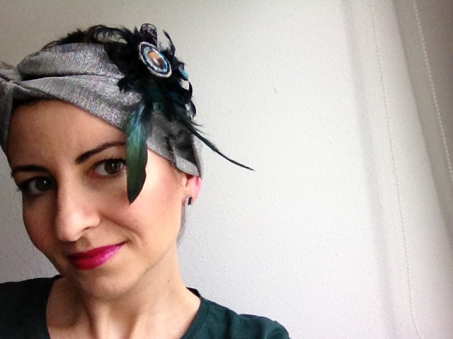 turbante - tocado con plumas