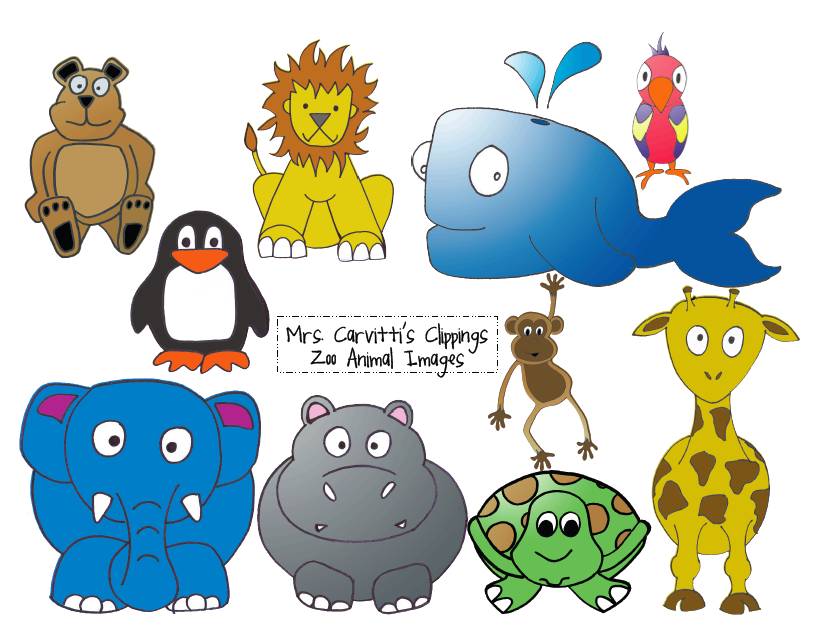 Zoo Animals Together Clipart Free zoo animal...