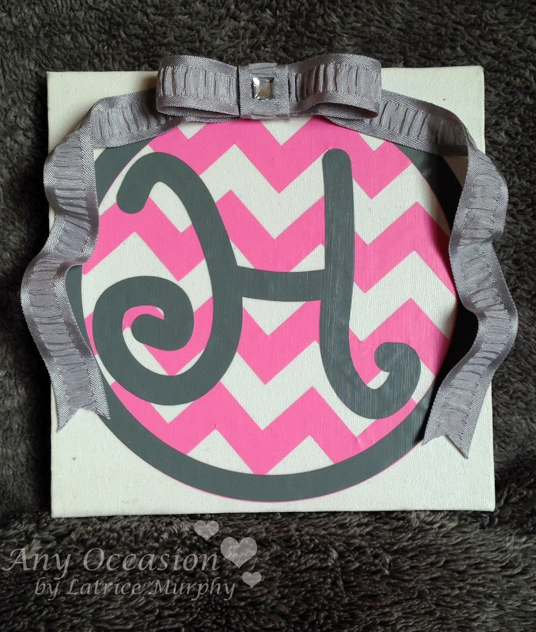 SRM Stickers Blog - Monogramed Vinyl Canvas by Latrice - #vinyl #matte #oracal #631 #ribbon #canvas #personalized