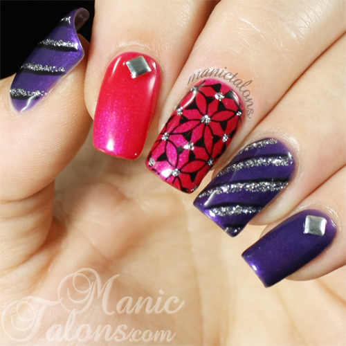 Pink Purple Silver and Black Nail Art