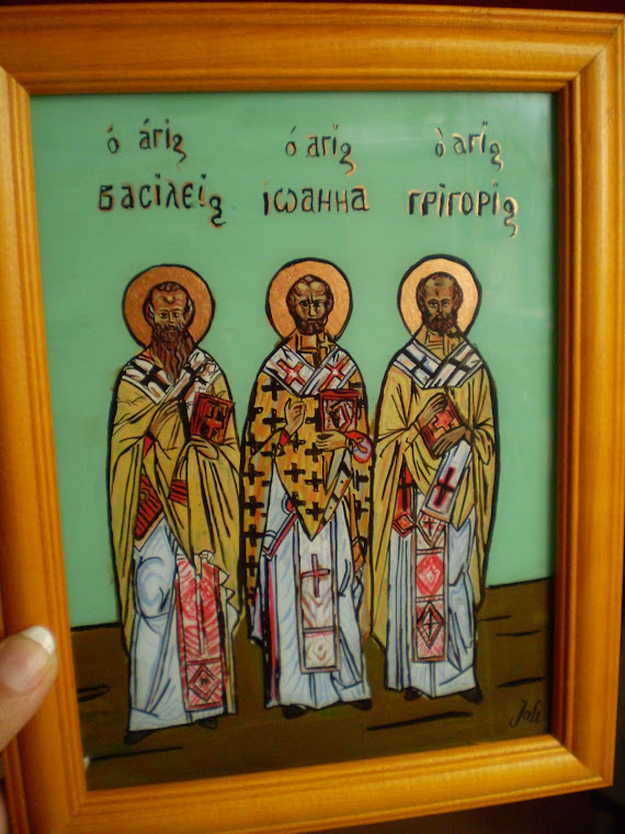 icon, Three Holy Hierarchs, oil on glass, Joli