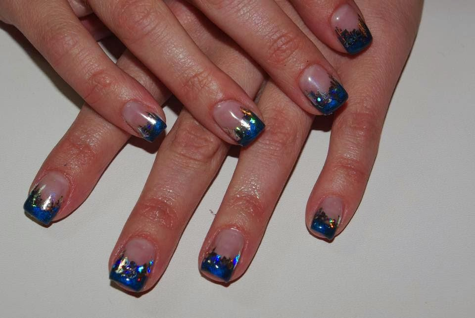 Acrylic back-fill custom mixed a blue gel french colored tips holographic rainbow mix foils for speckled glitz