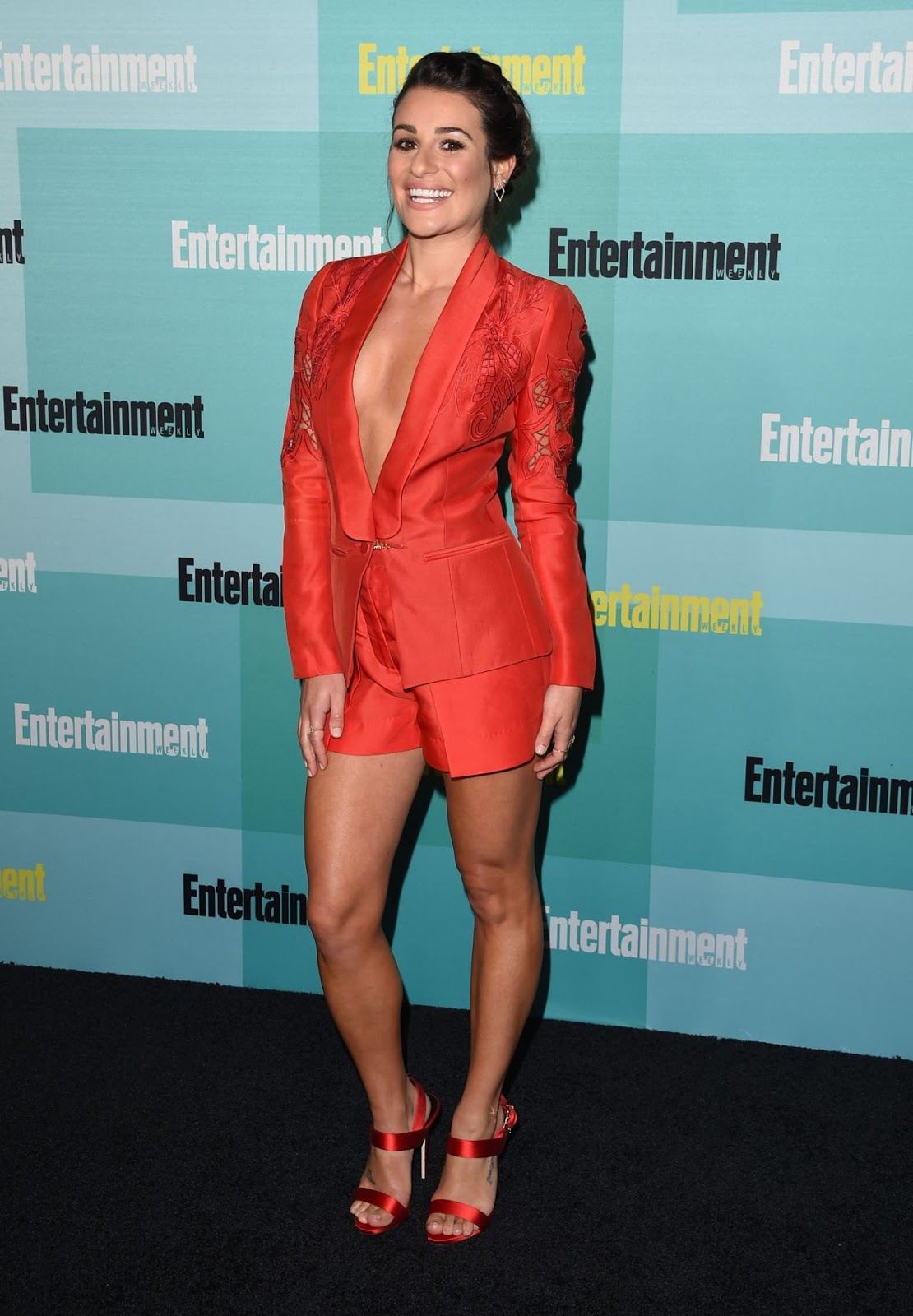 Lea Michele goes braless in a blazer at the Entertainment Weekly Party at Comic-Con 2015