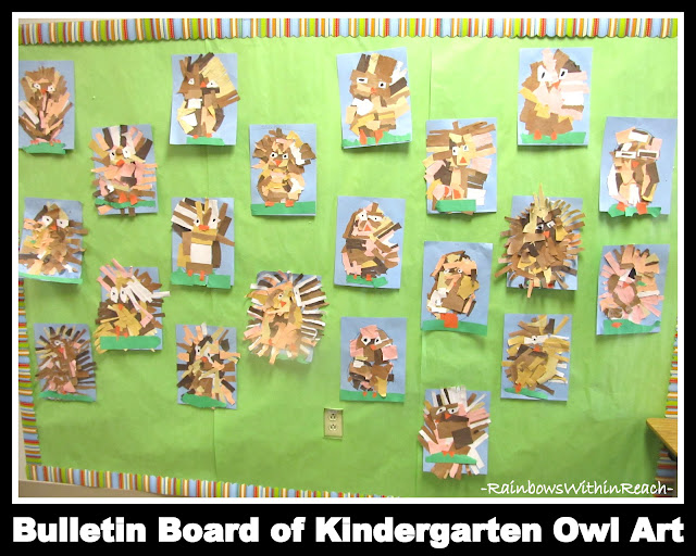 photo of: Bulletin Board of Kindergarten Open-Ended Art Owl Projects via RainbowsWithinReach