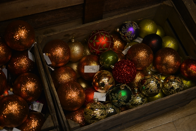 liberty london christmas decorations in wooden crate