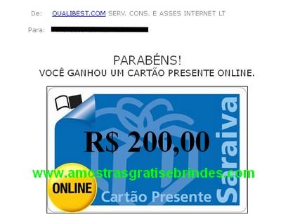RECEBIDO Vale Compras Saraiva R$ 200,00