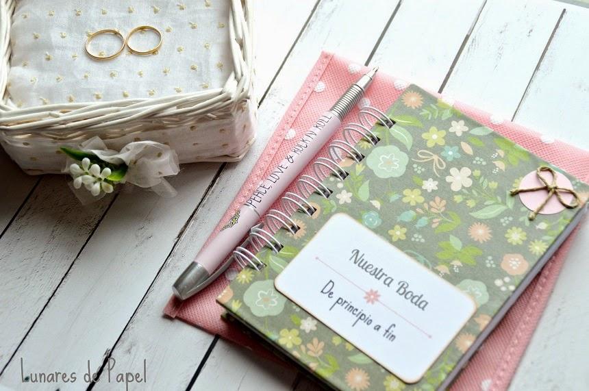 agenda personalizada bodas lunares de papel retales de bodas