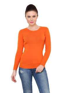 Renka Orange Color Knitted Pullover Sweater