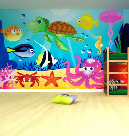 And door decorations fun kids play room with preschool for Class mural ideas