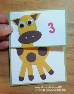 Giraffe punch art card with a fancy fold expanding neck