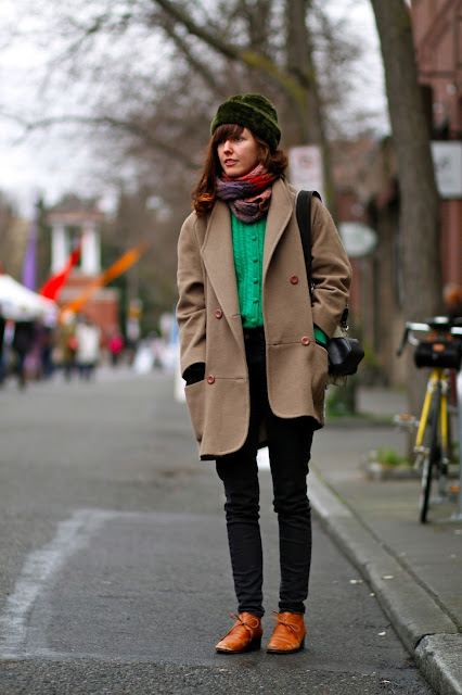 Shola Lawson green fur cap Ballard oversize coat seattle street style fashion