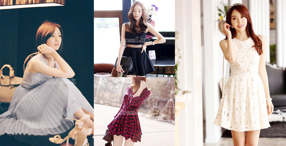 Ulzzang-style sheer dresses, chiffon maxi dresses, lace dresses, and plaid shirtdresses from Dresslink.