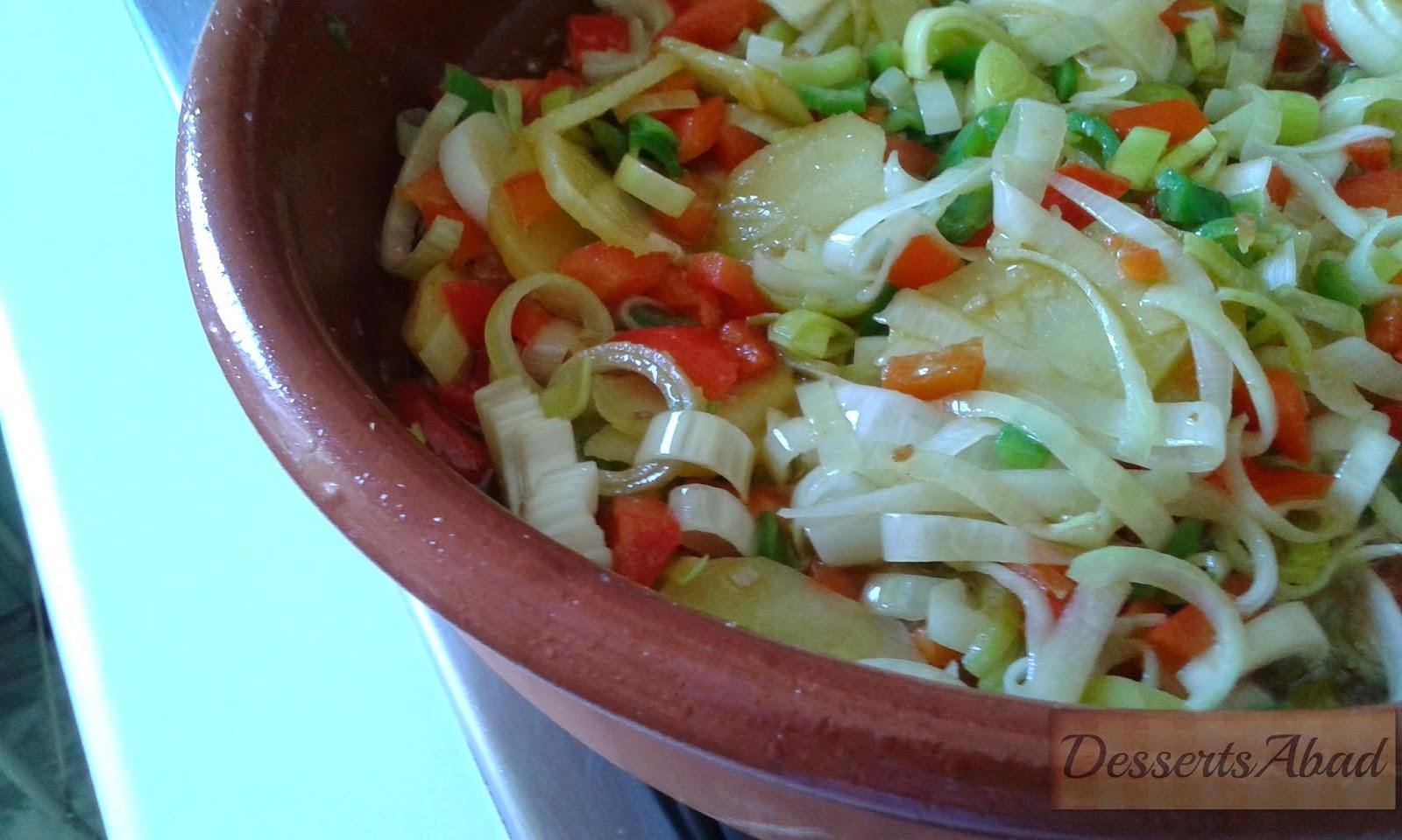 Arroz con bacalao y langostinos (Verduras)
