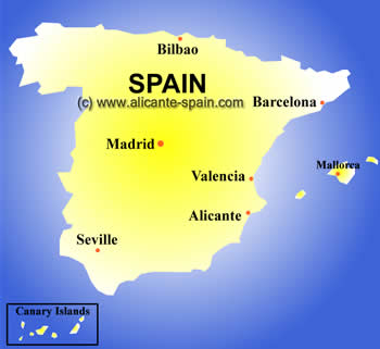 Map of Spain Tourism Region and Topography