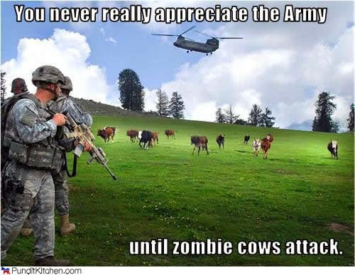 zombie cows V army - battle field photo