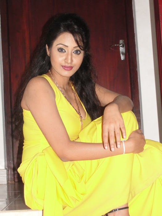 model kaushalya madhavi in yellow dress latest photos