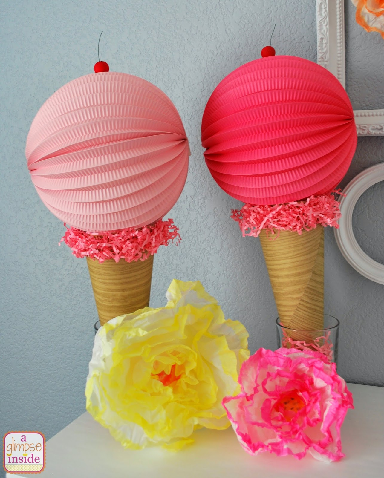 Ice cream ornaments - Here Is An Up Close Shot Of The Ice Cream Cone Decorations