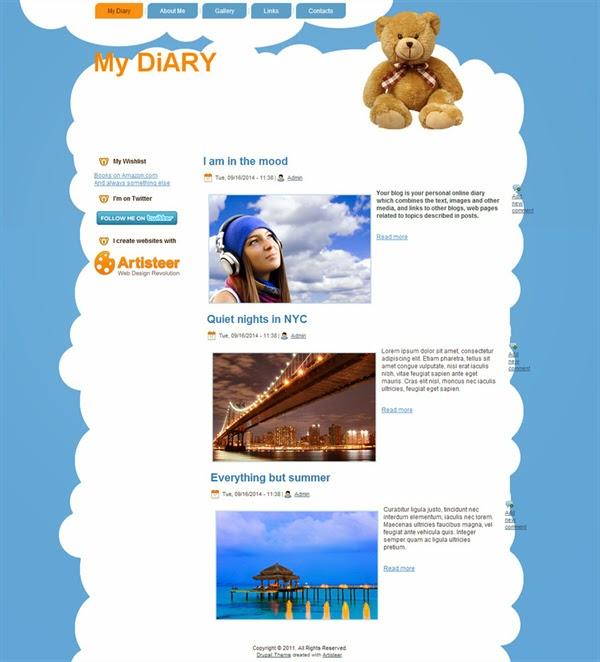 My Diary - Free Drupal Theme