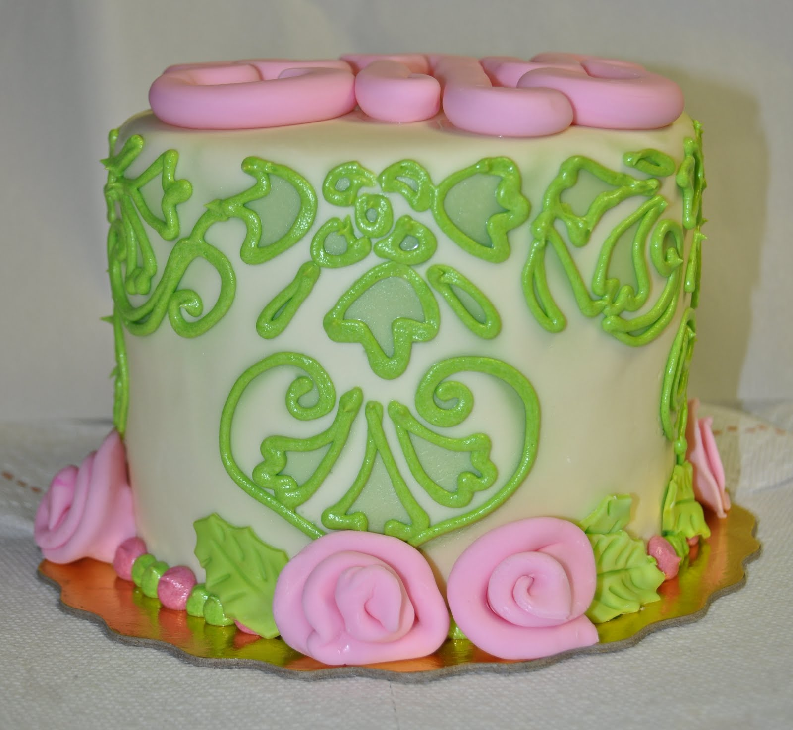 Leahs Sweet Treats Pastel Yellow Green And Pink Damask Baby
