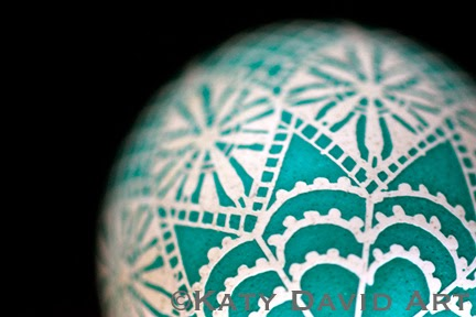 """Beaded Cap"" Pysanky Eggshell in White and Patina  ©Katy David Art"