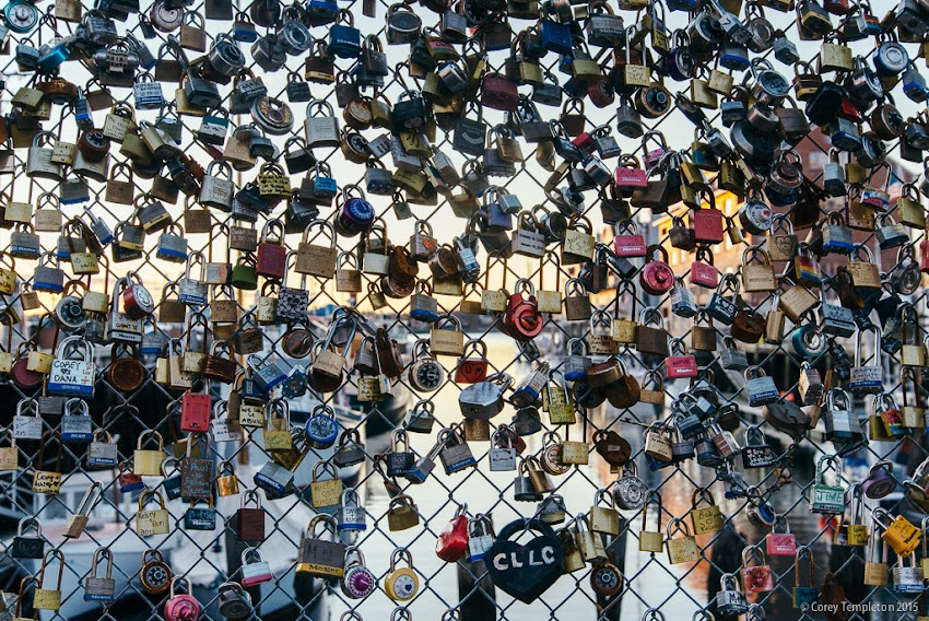 Portland, Maine USA November 2015 Photo by Corey Templeton of locks of love fence on Commercial Street in the Old Port.