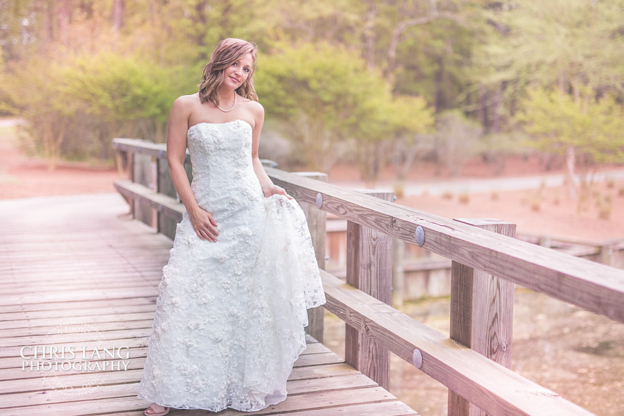 Rustic wedding photography - bride in wedding dress at River Landing in Wallace NC - Bridal Ideas