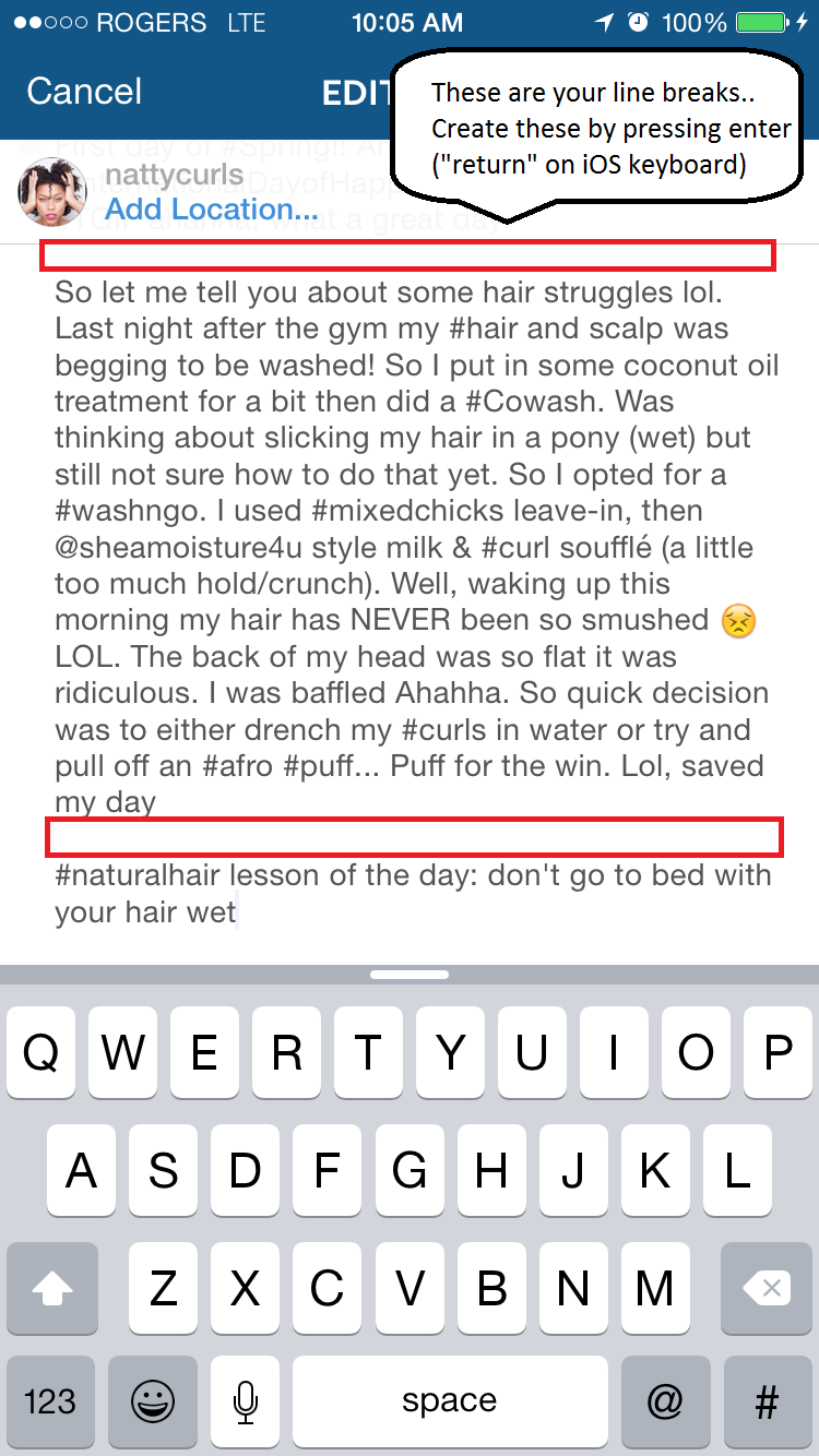 How to create a line break in your instagram caption nattycurls step 3 add line breaks spaces ccuart Choice Image