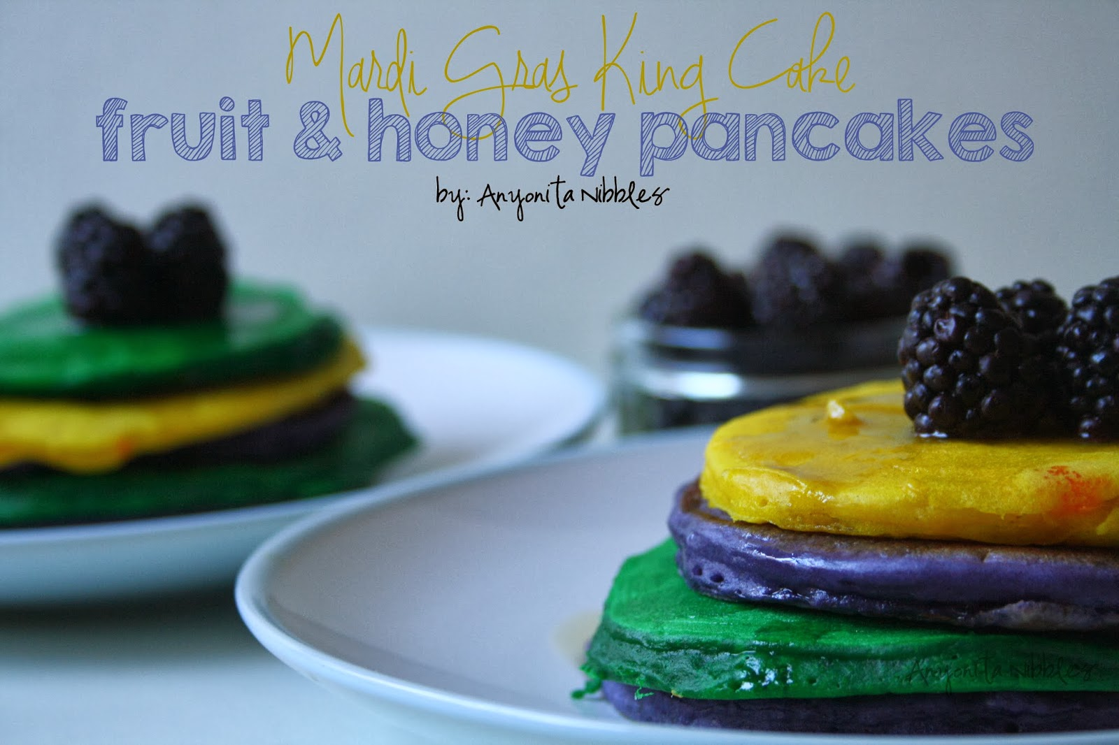 These fun pancakes are a fresh alternative to a Mardi Gras King Cake