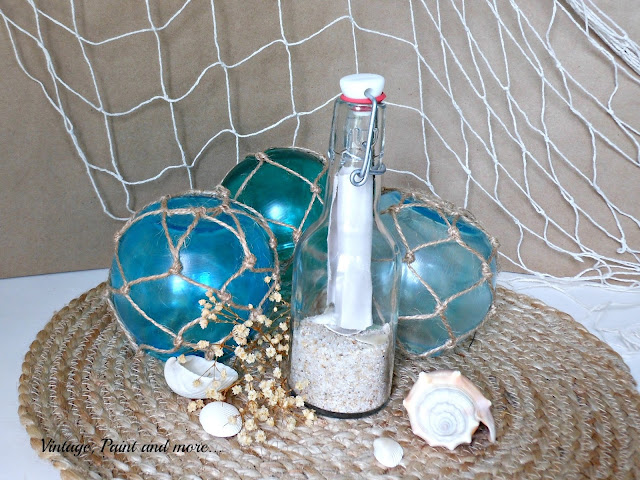 "Vintage, Paint and more... painted ""faux"" sea buoys from dollar store vases"