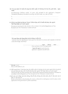 Application Form for Vietnam visa exemption - page 2