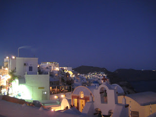 The restaurant terrace where we ate dinner in Oia.