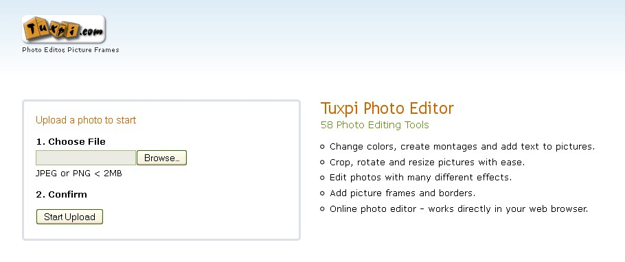 List of Free Online Photo Image Editor and Effects: Tuxpi