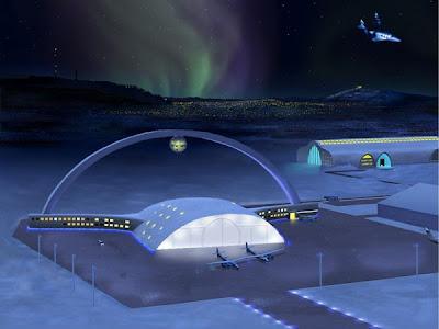 GAMBAR lakaran artis menunjukkan sebuah lapangan terbang untuk penerbangan ke angkasa lepas di Kiruna.