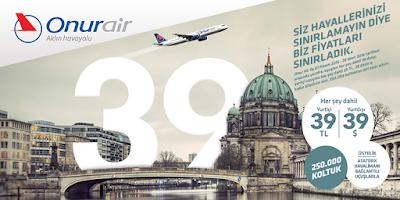 onur air indirimli bilet al, onur air 39tl kampanyası, onur air ucuz uçak bileti bul