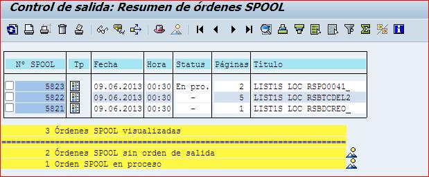 listado de ordenes de spool