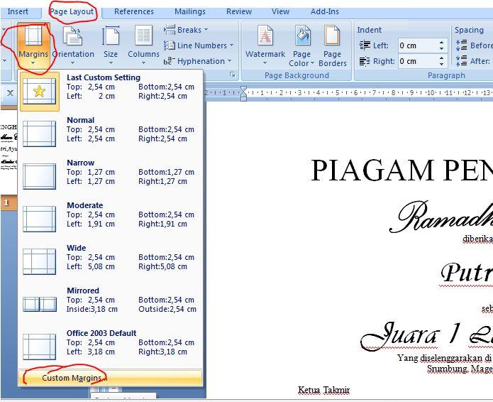 Kembali lagi ke Microsoft Word 2007,Lalu kita atur Margin dan ukuran