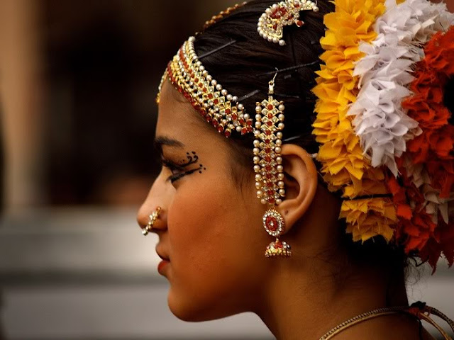 Bharatnatyam Jhumkas with long Ear Chain
