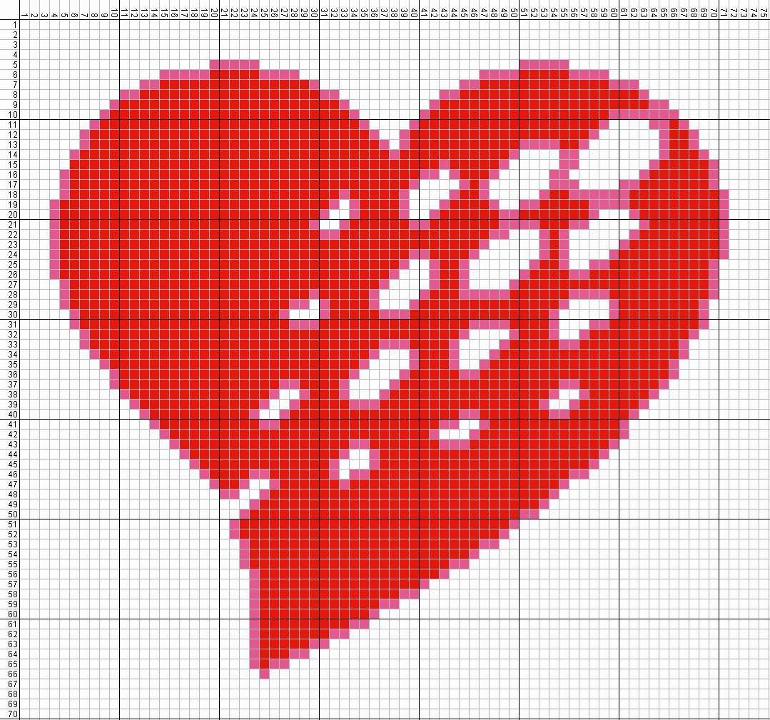 Gambar Pola Kristik Sederhana Tanda Cinta - Hati (4)