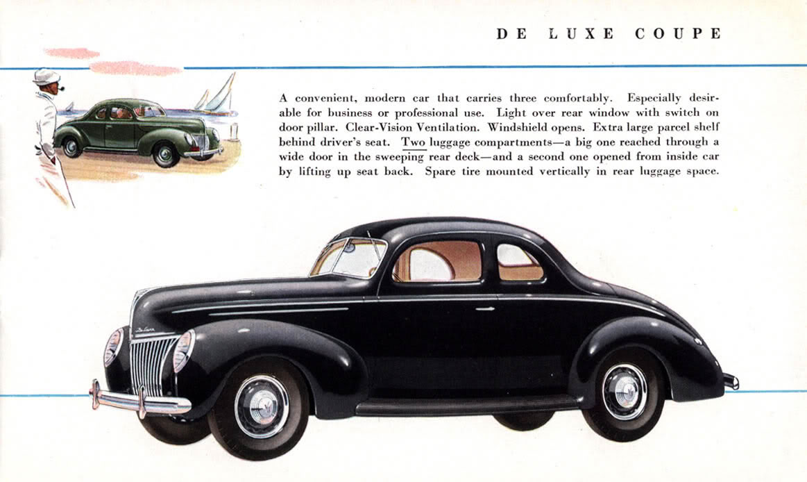 Youu0027ll see the difference between the u002739 Standard u0026 DeLuxe Models. Pictured are the Coupe Fordor Sedan Convertible. Too bad new car brochures donu0027t have ... & Vintage Ford Facts: The New Ford for 1939 markmcfarlin.com