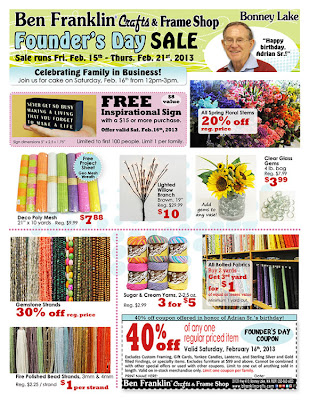 Ben franklin crafts and frame shop founder 39 s day sale for Ben franklin craft store coupons