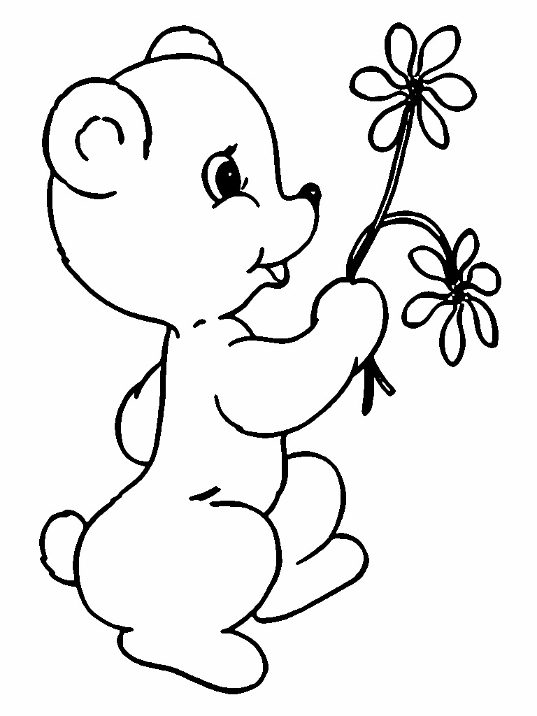 Cute Bear Kids With Valentine Flower Coloring Pages