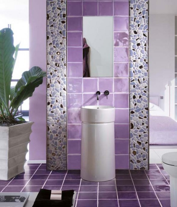 Decorar Baño Azulejos:Purple Bathroom Tile Designs