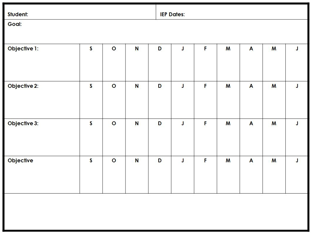 It is a graphic of Zany Printable Iep Goal Tracking Sheets