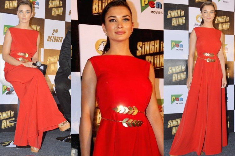 amy jackson in swatee singh  buy hot red dress