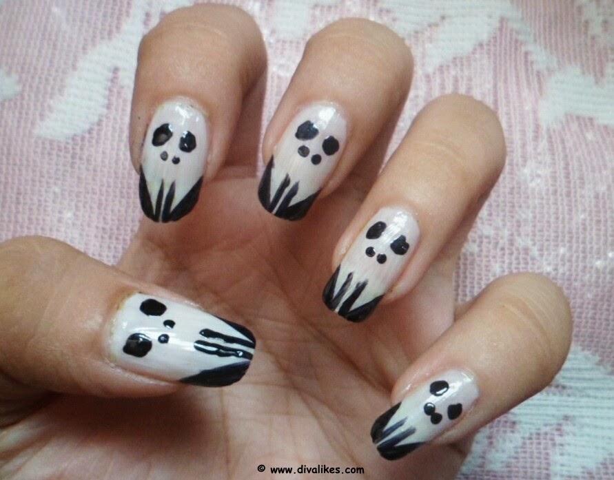Halloween Skull Nail Art Tutorial Diva Likes