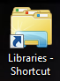 An example of created Libraries shortcut link on Windows 7 desktop