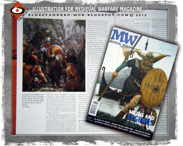 Photo of my illustration included in Mediaval Warfare III.6 Magazine. La Chanson de Roland