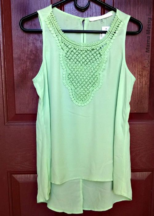 Pretty color, pretty details in this mint green A-line tank. Tavek Crochet Bib Blouse, April Stitch Fix review.